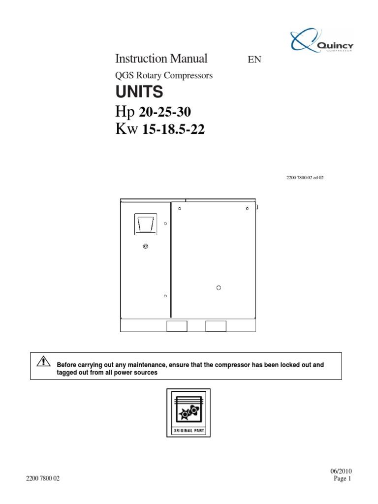 Quincy Qgb 25 Wiring Diagram Fuse Box Revbase Diagrams Jeep Qgv Series On Qgs 20 30 Instructions Gas Compressor Valve Air