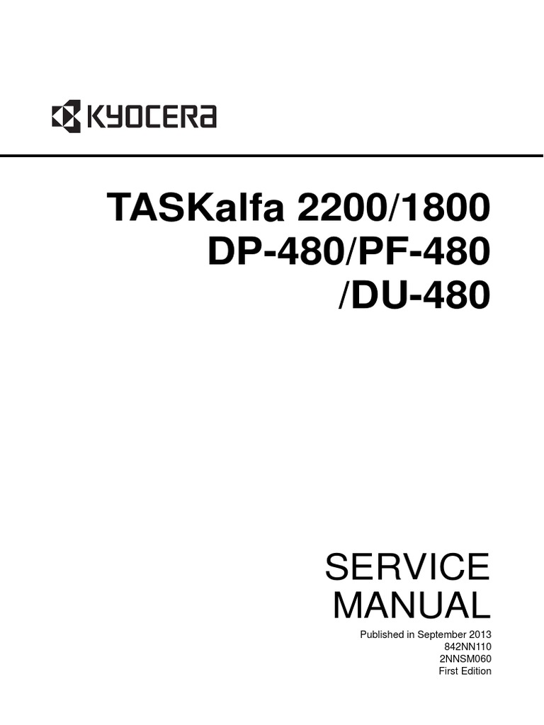 Taskalfa 2200/1800 Dp-480/Pf-480 /Du-480: Service Manual