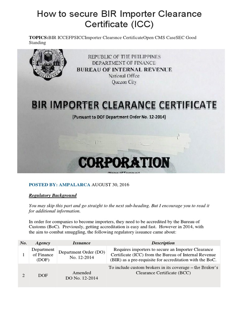 How to secure bir importer clearance certificate notary public how to secure bir importer clearance certificate notary public taxes yelopaper Choice Image