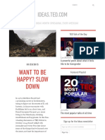 Want to be happy? SLOW DOWN | ideas.ted.com