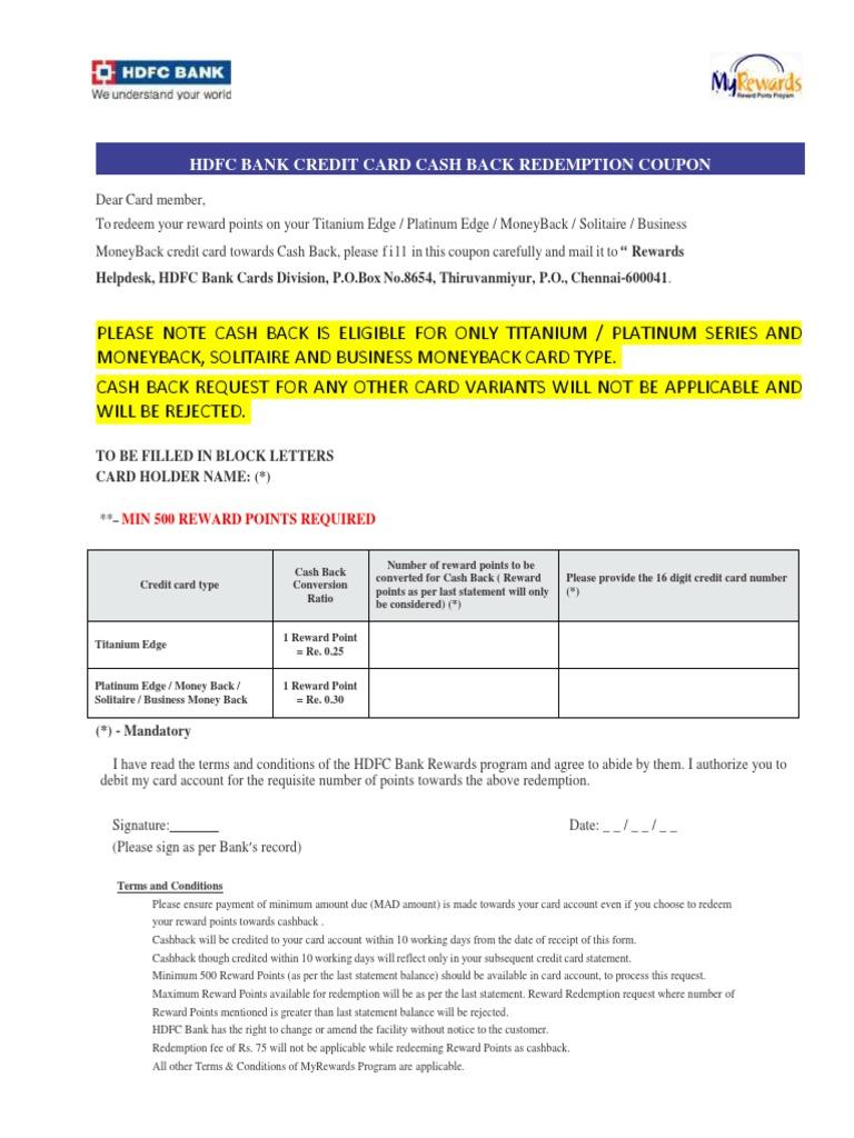 Cashback redemption form credit card loyalty program colourmoves