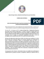 Comunicado Público Sobre La Solicitud de Propuestas Para La Selección de Un Investigador Independiente de La Deuda de Puerto Rico