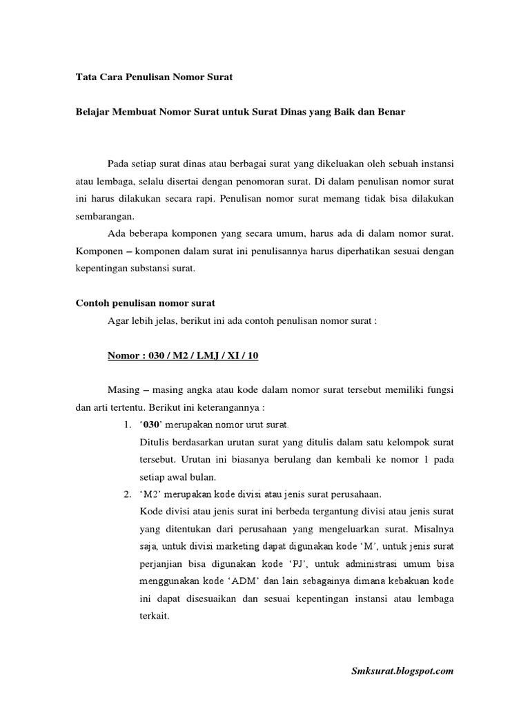 Tata Cara Penulisan Nomor Surat Pdf Pdf