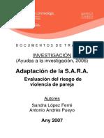 Adaptación de La SARA. Evaluación Del Riesgo de Violencia de Pareja