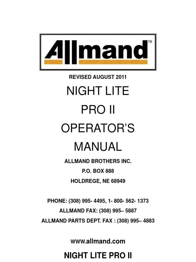 Allmand Night Lite Pro Ii Operators Manual Pdf Trailer Vehicle Elevator