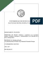 Programa de Seminario de Grado - Prof. c. de Ronde 2017