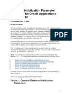 Database Initialization Parameter Settings for Oracle Applications Release 12