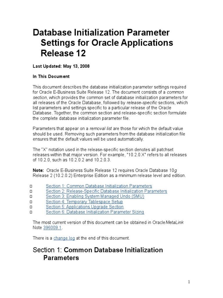 Database Initialization Parameter Settings for Oracle