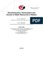 Malawi Water Resources Decentralization and Participation