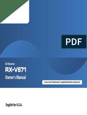 Rx V671 Manual Pdf Hdmi Radio