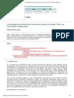 La Sociedad de La Información en América Latina y El Caribe_ TICs y Un Nuevo Marco Institucional