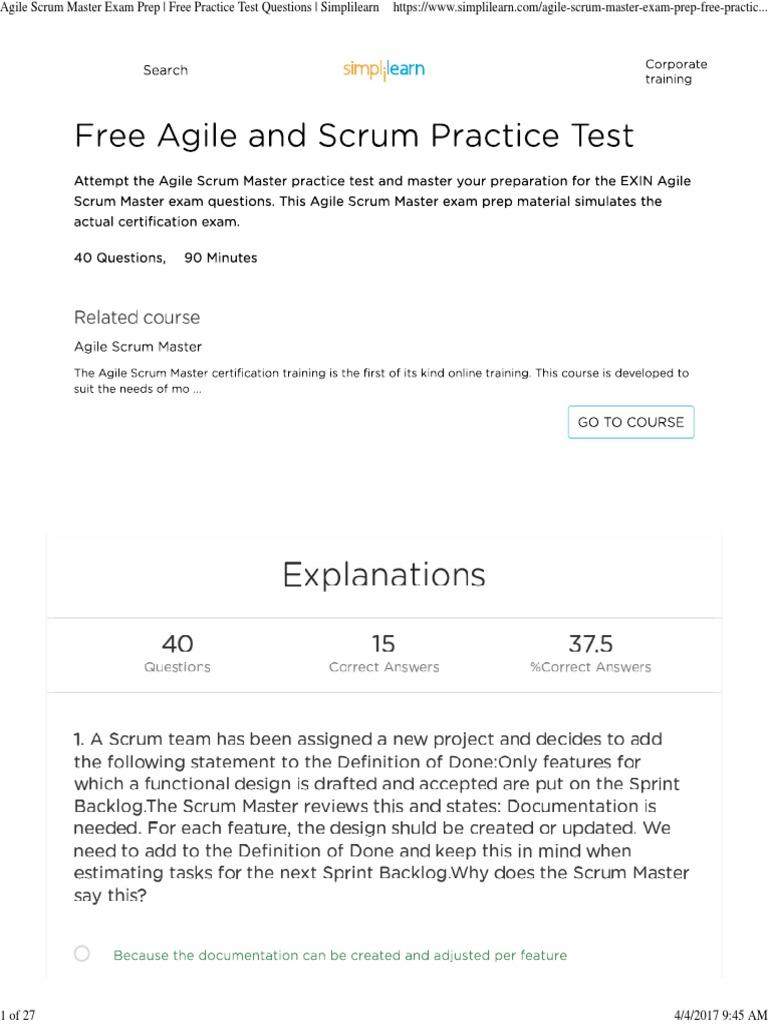 Agile Scrum Master Exam Prep Free Practice Test Questions