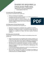 Modalidades de Adquirir La Nacionalidad Peruana