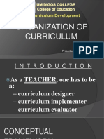 Horizontal and Vertical Organization of a Curriculum