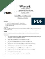 Accounting Grade 9 November Exam - Accounting Equation