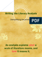 Writing the Literary Analysis