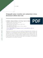 [Abdalla, E. Et Al.] Holographic Phase Transition and Conductivity in Three Dimensional Lifshitz Black Hole
