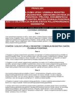 PRAVILNIK o Nacinu i Uslovima Upisa i Vodjenja Registra Poljoprivrednih Gazdinstava 2012