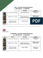 Calendario Libros 3basico 2 Semestre2017