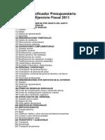 Clasificador Presupuestario_Ejercicio Fiscal 2011