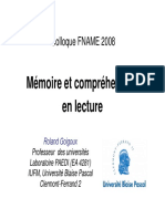 Memoire Et Comprehension en Lecture Goigoux Fname