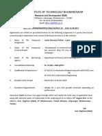 Notification IIT Bhubaneswar JRF Posts