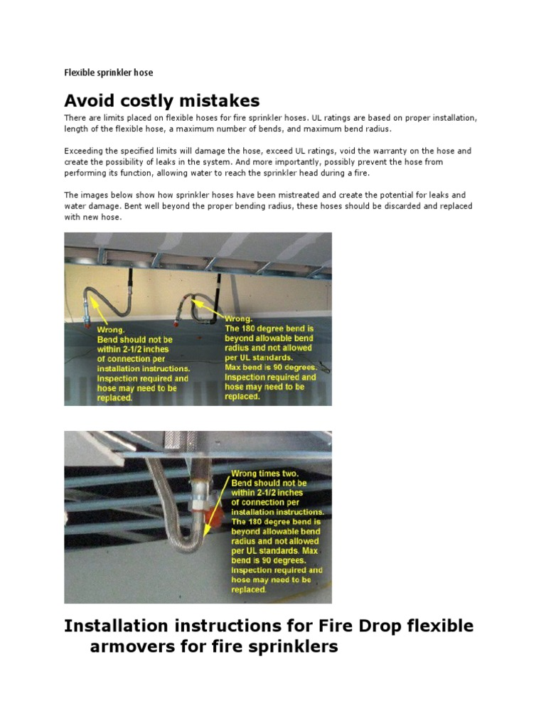 Flexible Sprinkler Hose | Fire Sprinkler System | Pipe (Fluid ...