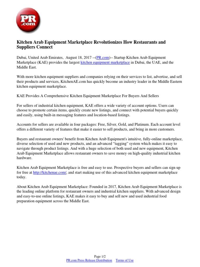 Kitchen Arab Equipment Marketplace Revolutionizes How