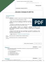 Sistemas de Informação Questionário Unidade III