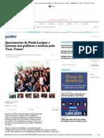 Apartamento de Paula Lavigne e Caetano Une Políticos e Artistas Pelo 'Fora, Temer' - 02-08-2017 - Poder - Folha de S