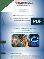 Política Energética Nacional Del Perú Jimy Condor