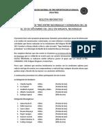 Boletín Informativo Tope Amistoso Nicaragua - Honduras (NCA-HON) Diciembre 2012