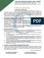 COMUNICADO SOBRE PROYECTO DE LEY Y HUELGA NACIONAL
