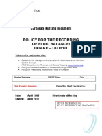 Recording of Fluid Balance Intake-Output Policy