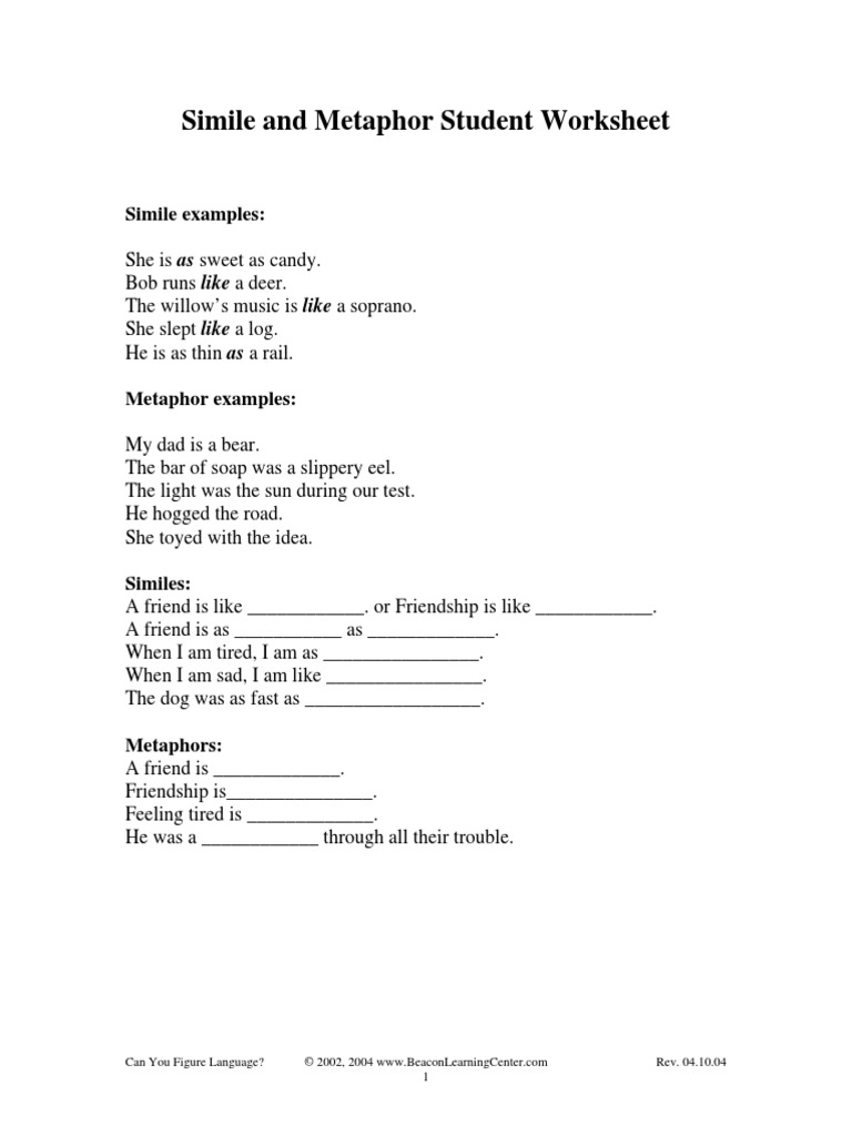 233801pdf – Metaphor Simile Worksheet