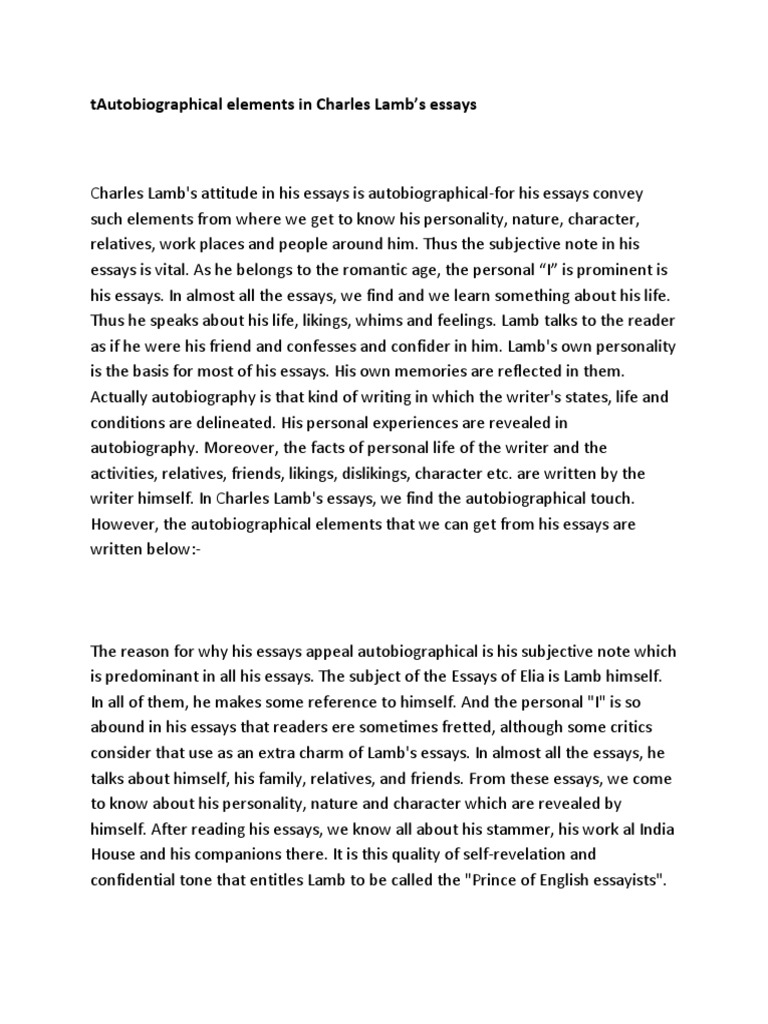 English Sample Essays  My English Essay also What Is Thesis In Essay Autobiographical Elements In The Essays Of Charles Lamb  Japanese Essay Paper