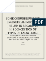 A Critique on the Only Two Types of Knowledge in the System Engineer Ali Mirza Of Jhelum City
