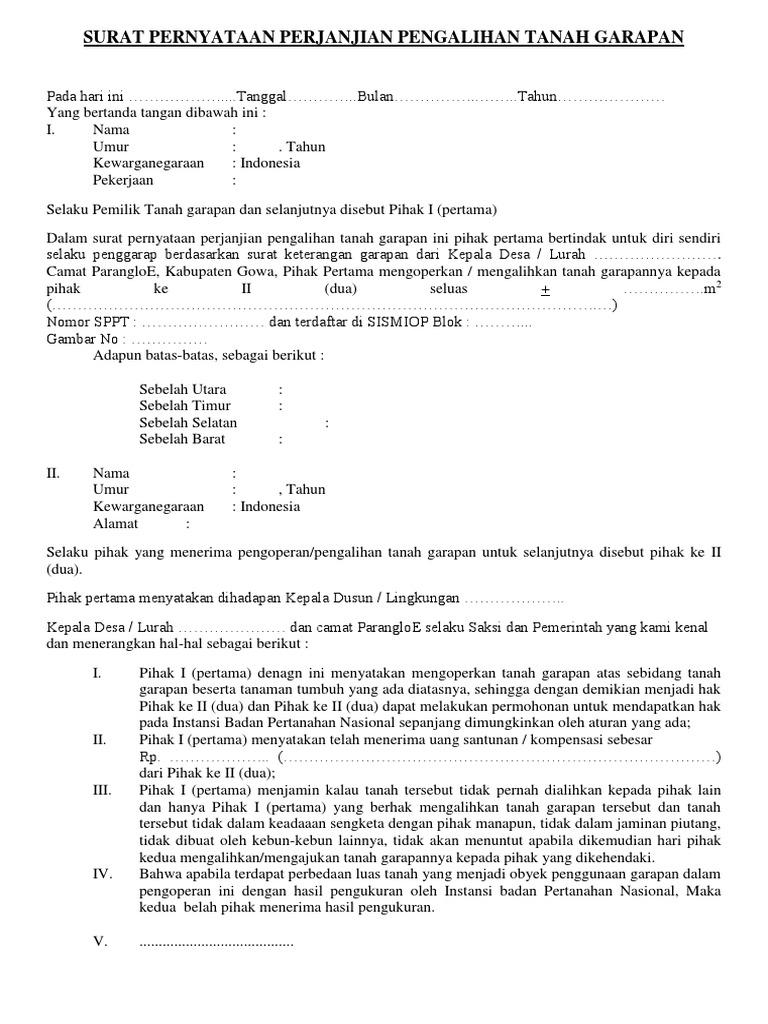 Surat Pernyataan Perjanjian Pengalihan T