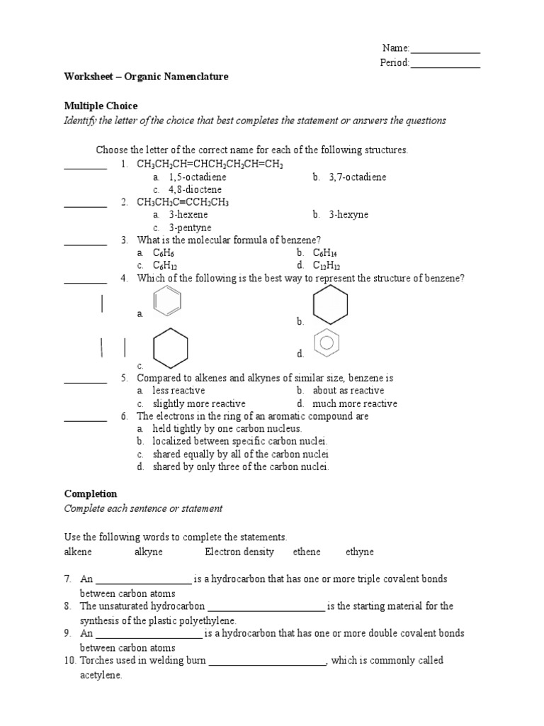 Worksheet Naming Alkene – Naming Alkenes Worksheet