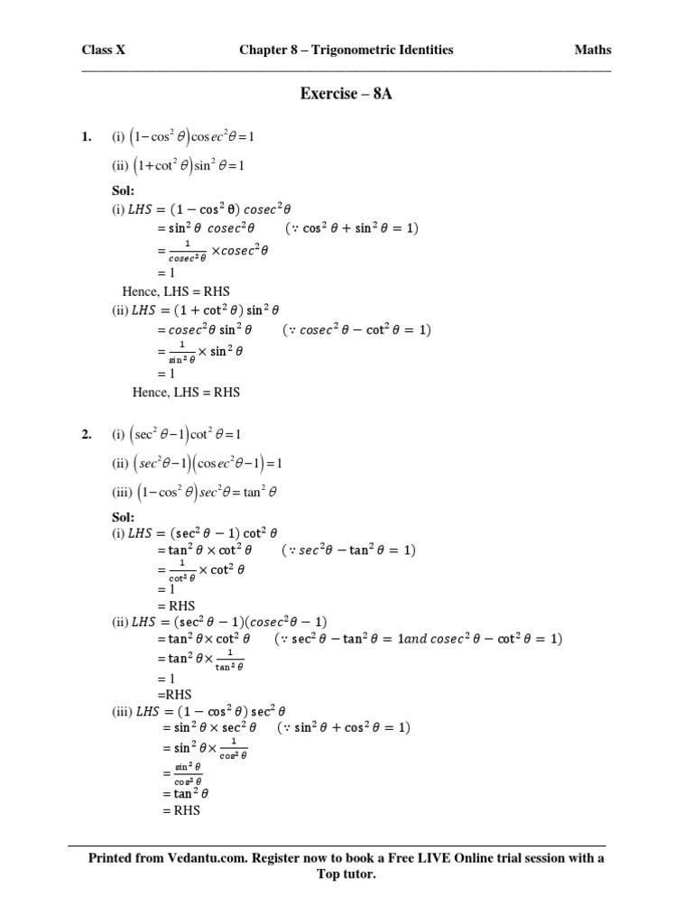 Chapter 8 – Trigonometric Identities pdf | Trigonometric