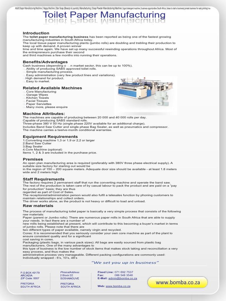 toilet paper manufacturing process pdf
