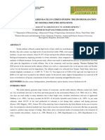 9.App-efficacy of Immobilised Bacillus Cereus During the Biodegradation of Textile Industry Effluents (1) (Reviewed)