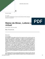 PARMENTIER_Maine de Biran, Leibniz Et Le Virtuel
