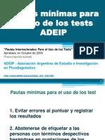 ADEIP. Pautas mínimas para el uso de los test (by CA)