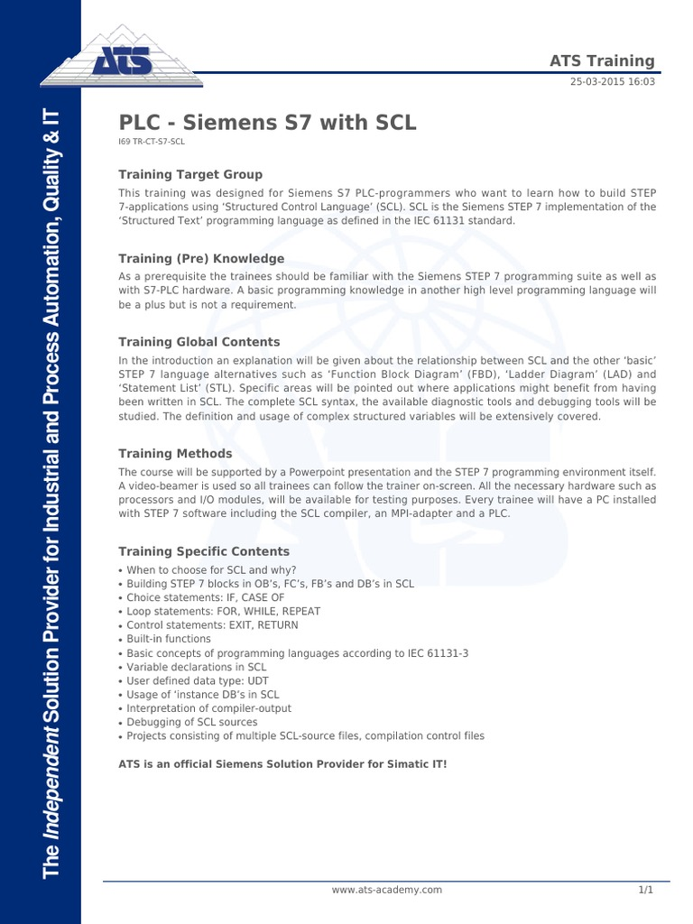 PLC - Siemens S7 With SCL | Compiler | Computer Programming