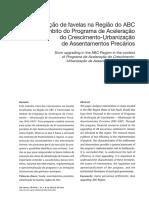 DENALDI, Rosana Etalli. Urbanização de Favelas Na Região Do ABC No Âmbito Do Programa de Aceleração Do Crescimento - Urbanização de Assentamentos Precários