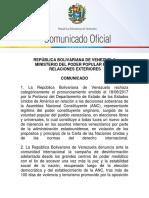 COMUNICADO| Venezuela rechaza comunicado de EEUU