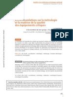 Recommandations Sur La Metrologie Et La Maitrise de La Qualite Des Equipements Critiques