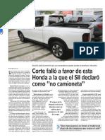 Corte Falló a Favor de Esta Honda a La Que El SII Declaró Como _no Camioneta_ - Www.lun