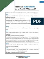 Lesson 07 - Sentences for Anki en-PT